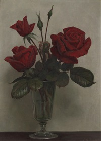 still life of red roses by john bulloch souter
