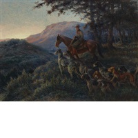 enjoying sunset after a long day's hunt by edmund henry osthaus