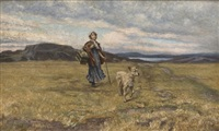 walking girl with a dog by marcus gronvold