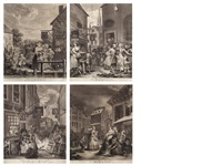 the four times of day (set of 4) by william hogarth