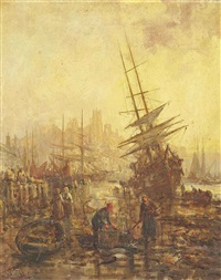 the river at whitby (illustrated); the harbour at penzance (pair) by william edward webb