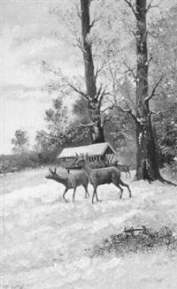 rehwild im winterwald by johann nepomuk spiess