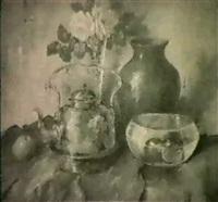 stilleben med kopparkruka,                 skal och blommor by carl holger fischer