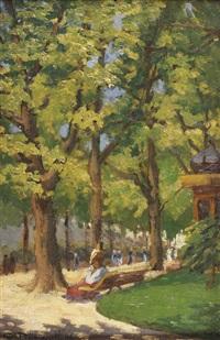 femme assise sur un banc dans un parc by georges barwolf