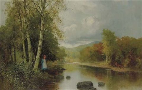a lake through a wooded landscape with a young girl and a deer by ernest w appleby