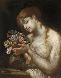 bildnis eines mädchens, das eine vase mit blumen in händen hält by austrian school-vienna (18)