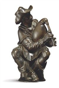 seated bagpipe player (after giambologna) by antonio susini