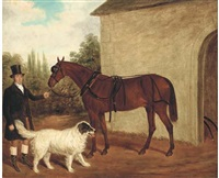 a bridled horse held by a groom, a dog by his side by james loder of bath