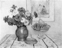zinnias et raisins by jeanne lauvernay-petitjean