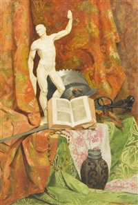 still life with marble statue by anton hans karlinsky