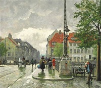 street scene from christianshavn with torvegade, copenhagen by paul gustave fischer