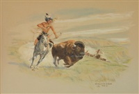 comanche hunter with buffalo horse by byron wolfe