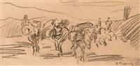 three farm scenes (3 works, various sizes) by vasilis germenis