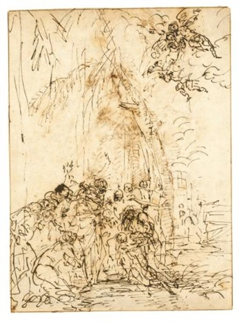 the raising of lazarus; studies of the head and shoulder of a soldier holding a spear (recto-verso) by salvator rosa