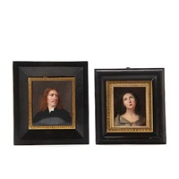 miniature portrait of a gentleman (+ miniature portrayal of the virgin mary; 2 works) by louis ami arlaud-jurine