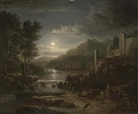 fishermen along a river by moonlight by abraham pether