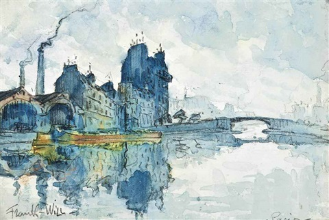 a barge on the seine, paris by frank-will