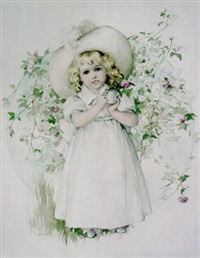 young girl holding cup with flower by maud humphrey