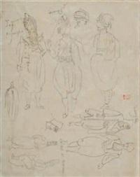 études de costumes grecs et turcs (study after engraving, recto/verso) by eugène delacroix