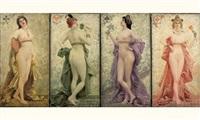 le carré de dames (folding screen; in 4 parts) by fernand le quesne