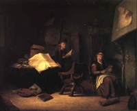 interior with the scholar and an old woman spinning beside a fire by jacob van spreeuwen