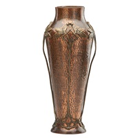 tall art nouveau vase with overlay by wmf co. (württembergische metallwarenfabrik)