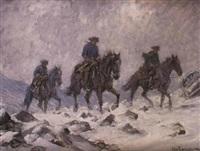 ridande karoliner i vinterstorm by alexander langlet