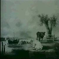 cows grazing near an estuary by edmund aylburton willis