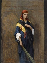 bildnis einer orientalin mit einem zweig in der hand by thaddaus von ajdukiewicz