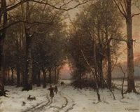 a wooded winter landscape with figures on a path by b. kreutzer