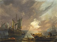 a mediterranean coastal landscape at dusk, with fishermen unloading their boats, and a man-o-war beyond by lieve pietersz verschuier