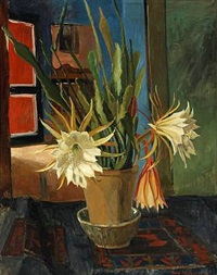 still life with flowering cactus by rudolph jacobsen