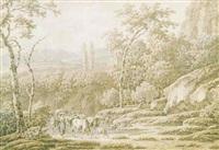 paisaje con pastor y rebaño by henri-joseph antonissen