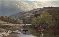 cattle watering in the river lyn, north devon by sidney richard percy
