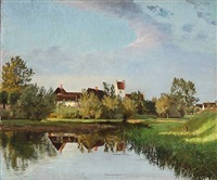 village pond at a church by olaf viggo peter langer