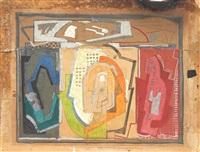 triptyque, étude pour le centre noir (triptych) by albert gleizes