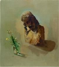leidenskopf mit wiesenblumenvase by willy kriegel