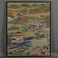 busy scene in spring and autumn from the edo period by japanese school-tosa (19)