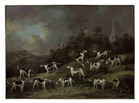 hounds of colonel hylton joliffe of merstham house, surrey with merstham church and mill beyond by dean wolstenholme the younger