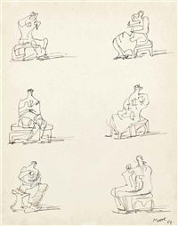 studies for seated figures by henry moore