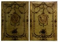 panneaux décoratifs en grisaille avec médaillons ornés d'amour (4 works) by henri salembier