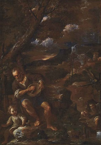 a man holding a wicker basket accompanied by three children in a landscape by pier francesco mola