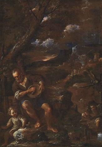 a man holding a wicker basket accompanied by three children in a landscape by pier francesco mola