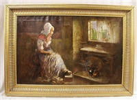dutch woman in interior by charles john arter