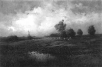 country landscape with grazing cattle by paul r. koehler