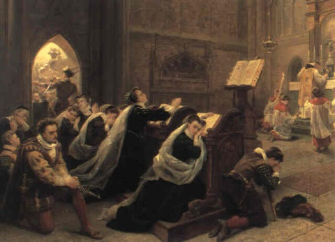 mary queen of scots hearing her first mass after returning to scotland by emanuel gottlieb leutze