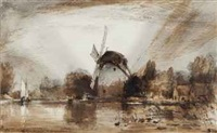 rembrandt's old mill by edward william cooke