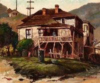 house on a hillside with figure by frank leslie sanford