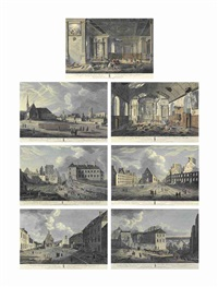 twelve views of the principal buildings in quebec: a view of the inside of the jesuits church; a view of the inside of the recollect friars church; a view of the treasury and jesuits college; a view of the bishops house and the ruins as they appear in goin by richard short