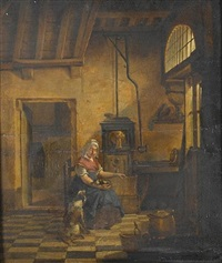 an interior with a young woman warming herself beside a stove with a dog on her lap and another at her feet by johannes (van delft) vermeer